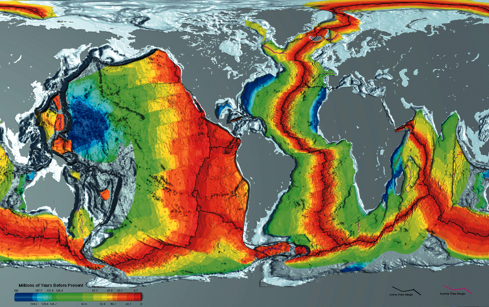 Earth         seafloor crust age