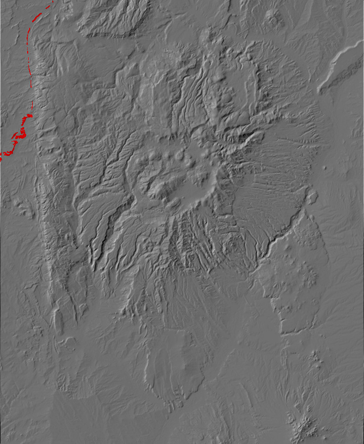 Digital relief map of Kirtland and Fruitland Formation         exposures in the Jemez Mountains