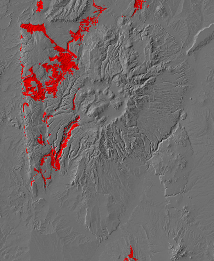 Digital relief map showing Abo and         Cutler exposures in the Jemez Mountains