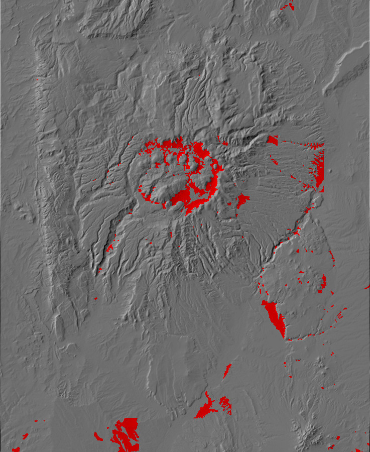 Digital relief map of alluvial fans in the Jemez         Mountains