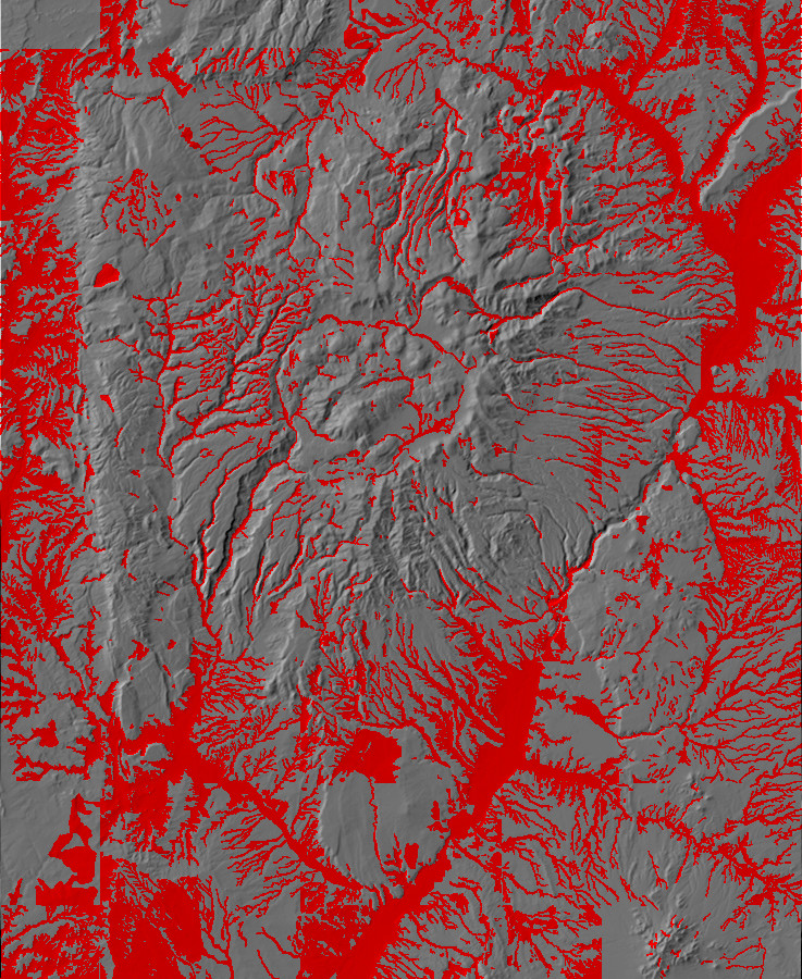 Digital relief map of alluvium in the Jemez Mountains