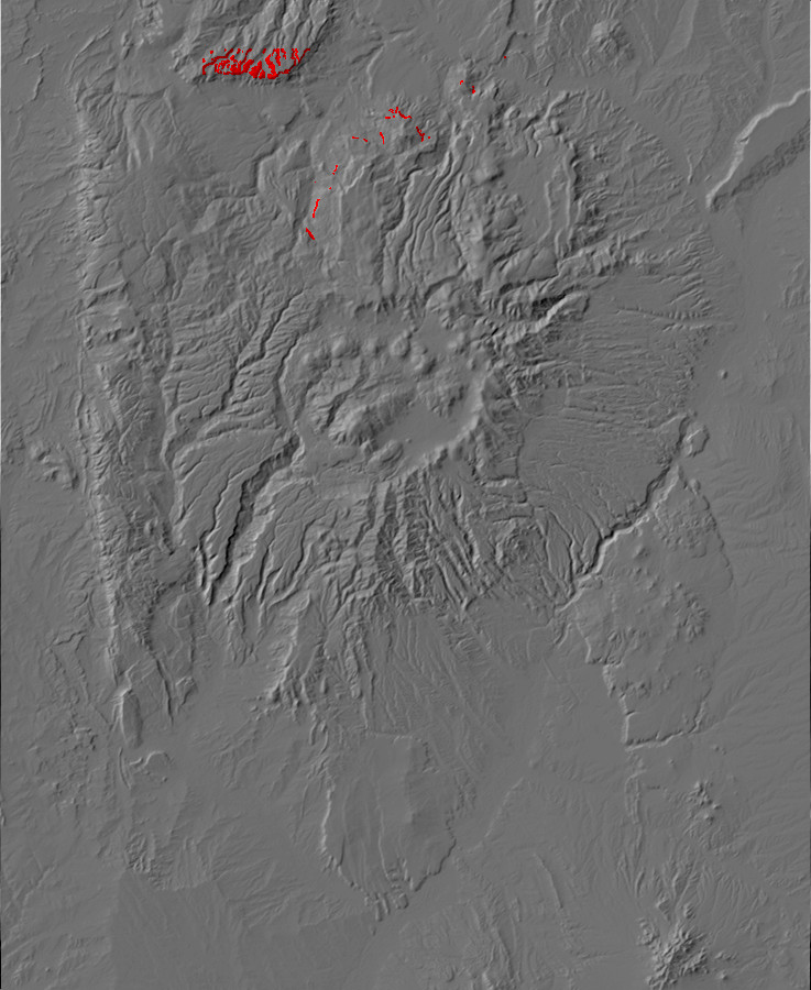 Digital relief map of Burro Canyon exposures in the         Jemez Mountains