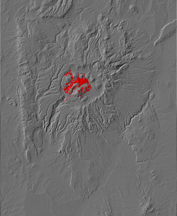 Digital relief map of caldera fill exposures in the         Jemez Mountains