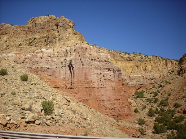 Canones Fault         scarp showing Permian and Triassic beds
