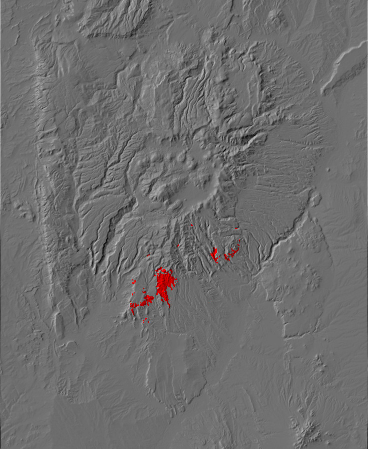 Digital relief map of Canovas Canyon Rhyolite exposures         in the Jemez Mountains