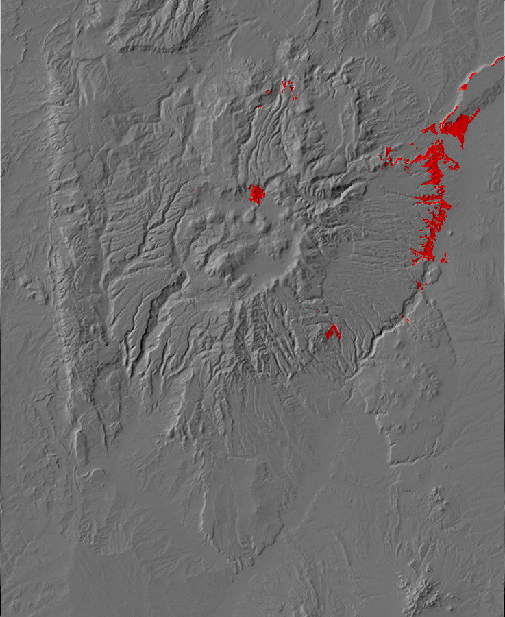 Digital relief map of Chamita Formation exposures in         the Jemez Mountains
