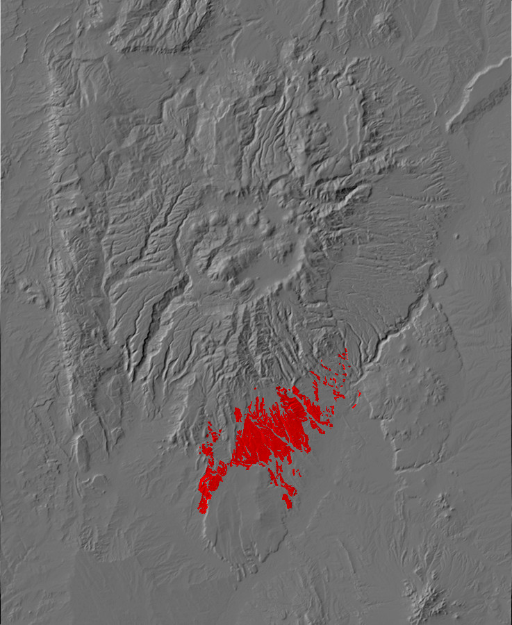 Digital relief map of Cochiti Formation exposures in         the Jemez Mountains