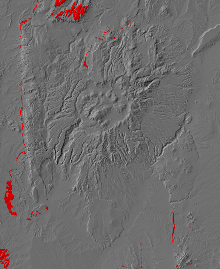 Digital relief map of Dakota Formation exposures in the         Jemez Mountains