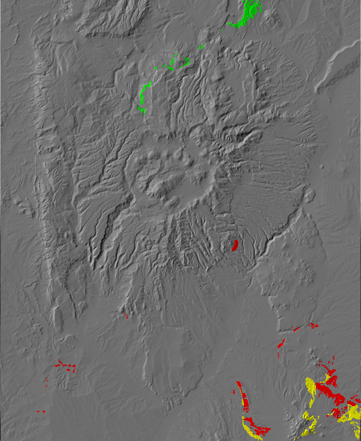 Digital relief map of early Eocene exposures in the         Jemez Mountains