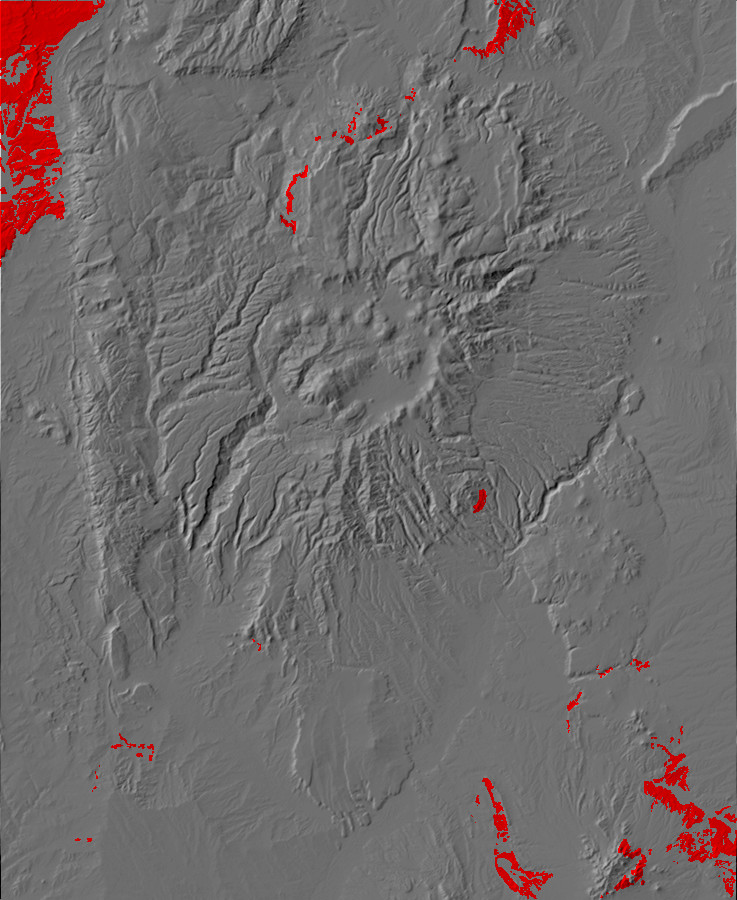 Digital relief map of Eocene exposures in the Jemez         Mountains