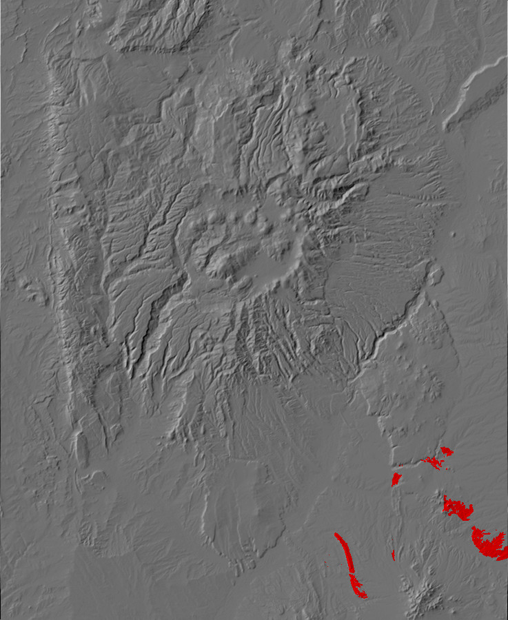 Digital relief map of Espinaso Formation exposures in         the Jemez Mountains