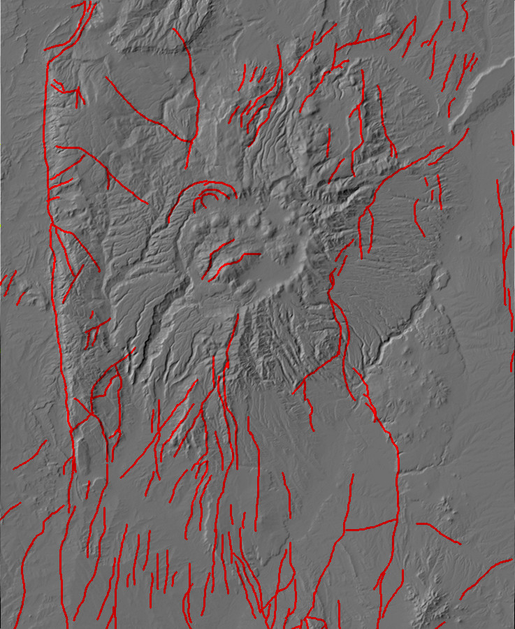 Digital relief map of major faults in the Jemez         Mountains