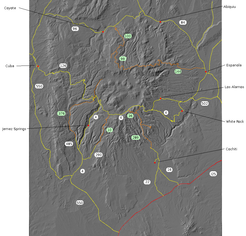 Relief map of the Jemez