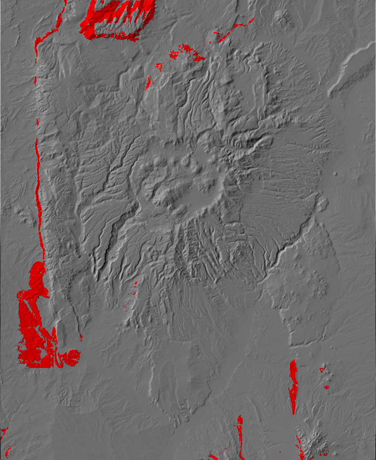 Digital relief map of Jurassic exposures in the Jemez       Mountains