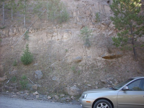 La Grulla         andesite under a cliff of Bandelier Tuff