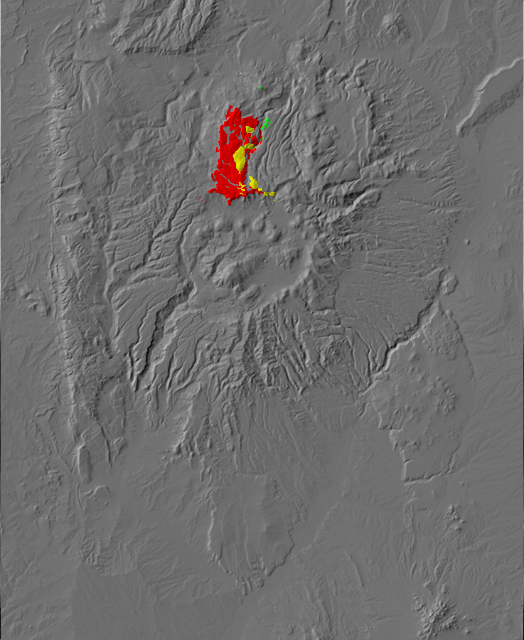Digital relief map of La Grulla Formation exposures in the       Jemez Mountains