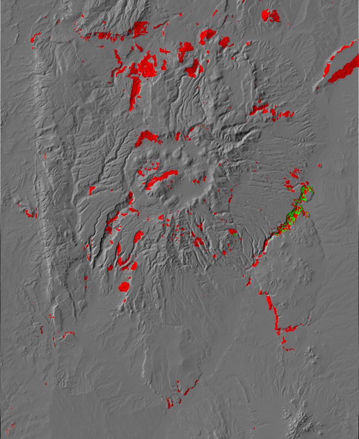 Digital relief map of landslides in the Jemez         Mountains