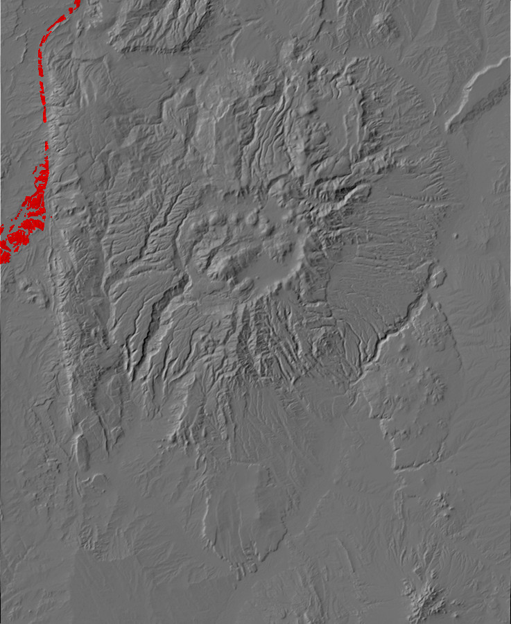 Digital relief map of Lewis Formation exposures in the         Jemez Mountains