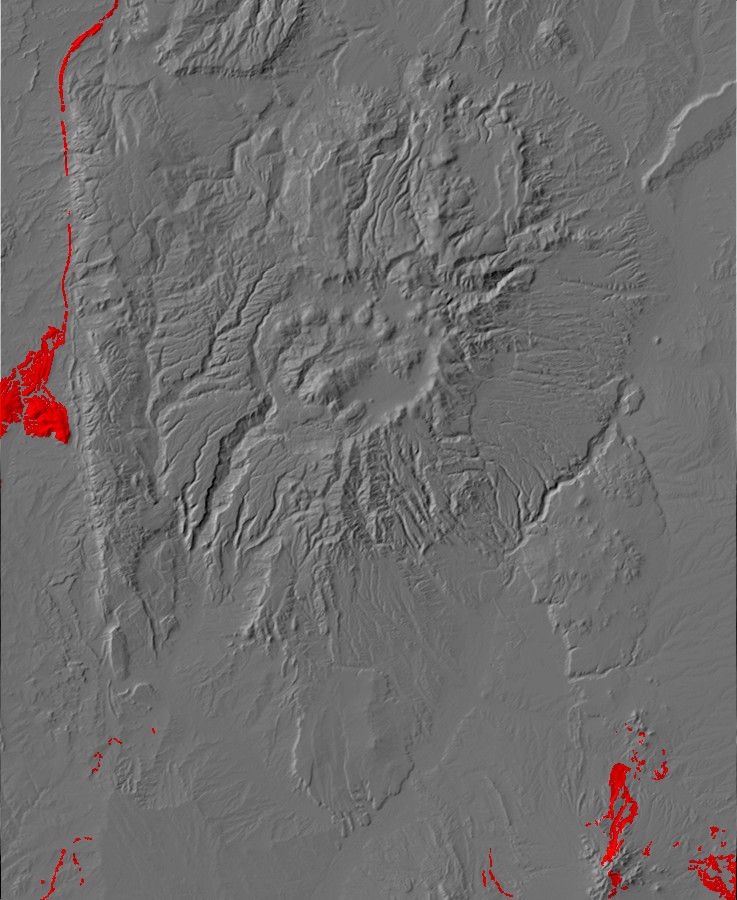 Digital relief map of Mesaverde Group exposures in the         Jemez Mountains