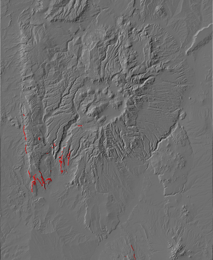Digital relief map of Triassic exposures in the Jemez         Mountains