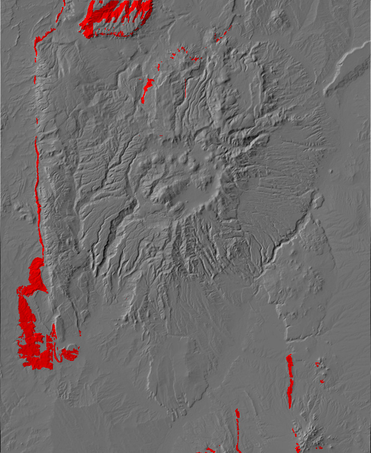 Digital relief map of Morrison Formation exposures in         the Jemez Mountains