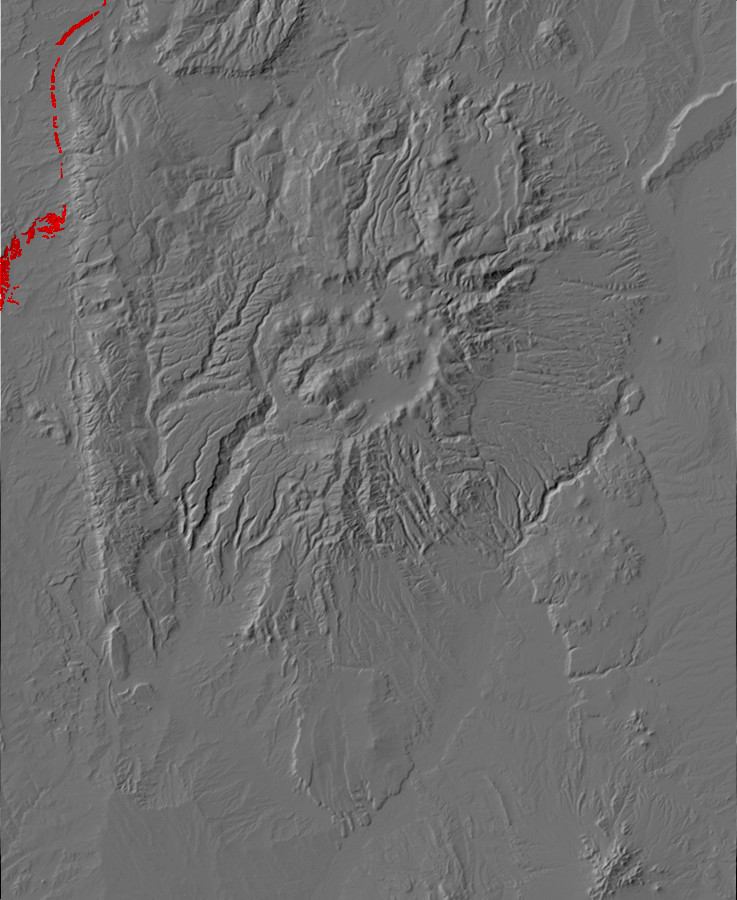 Digital relief map of Nacimiento Formation exposures in         the Jemez Mountains