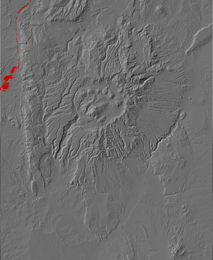 Digital relief map of Ojo Alamo Formation exposures in         the Jemez Mountains