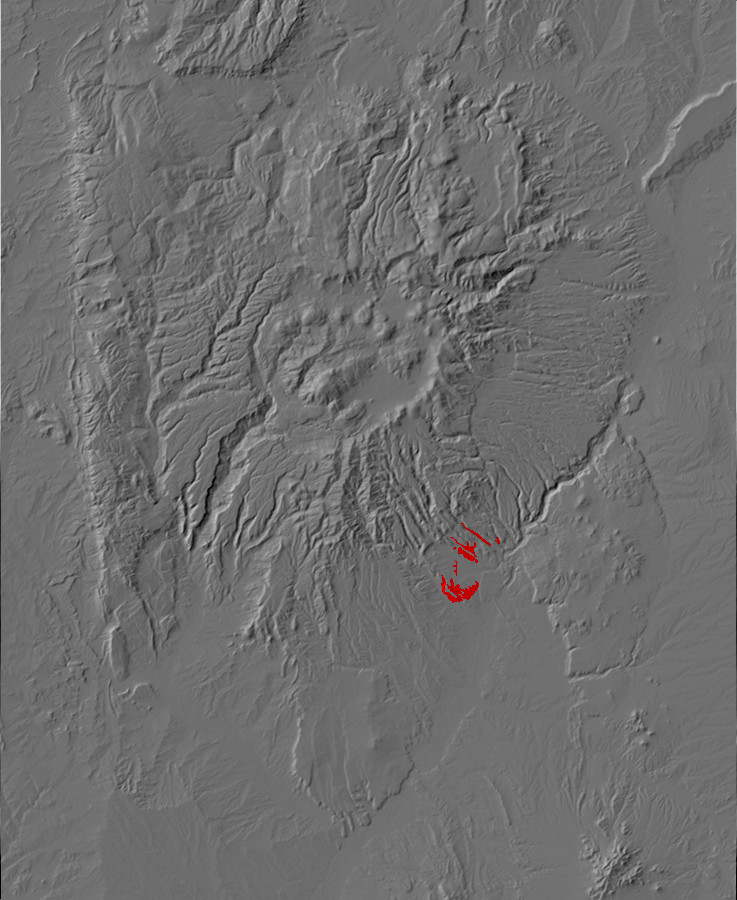 Digital relief map of old alluvium exposures in the         Jemez Mountains