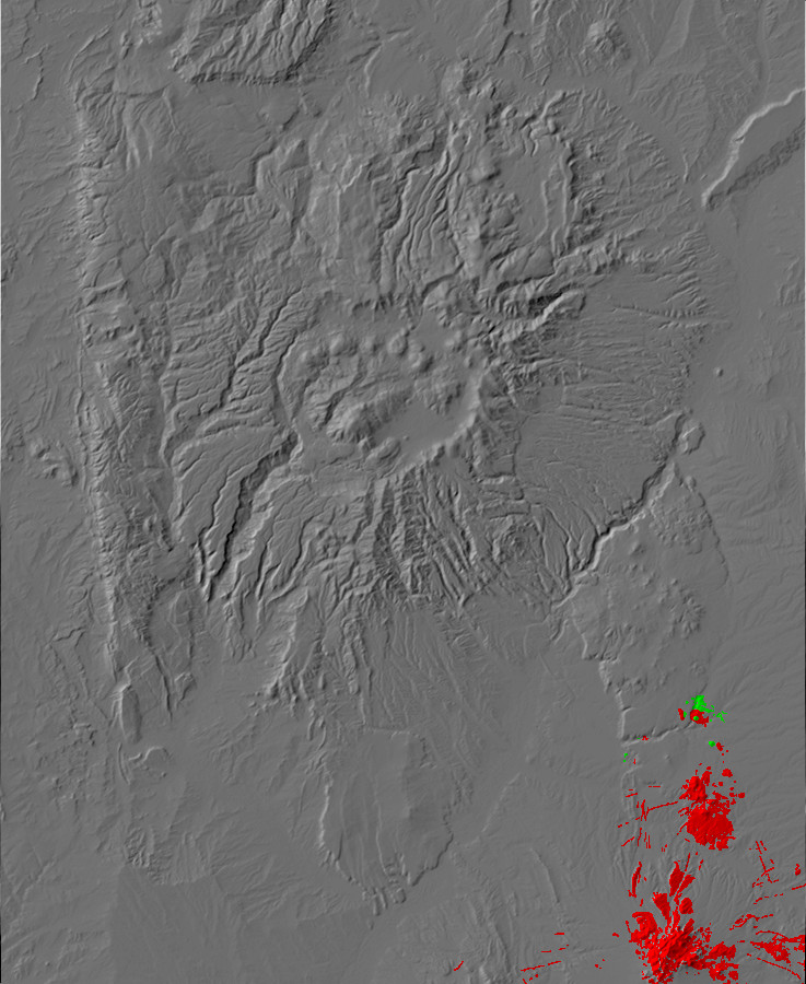 Digital relief map of Ortiz Belt and Cieneguilla         Basanite exposures in the Jemez Mountains