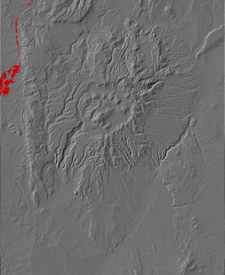 Digital relief map of Paleocene exposures in the Jemez         Mountains