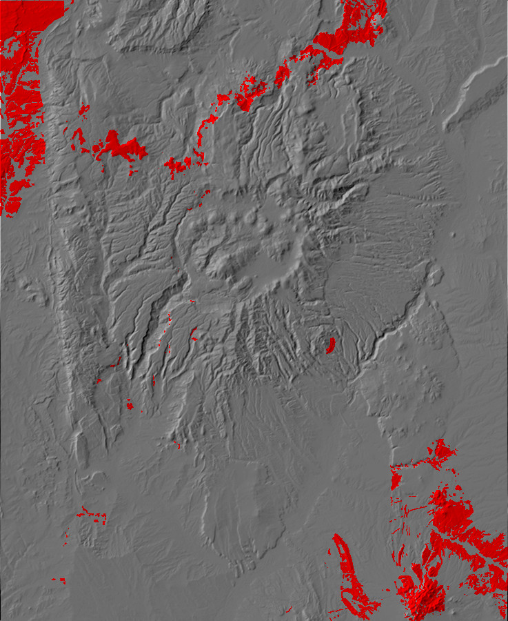 Digital relief map of Paleogene exposures in the Jemez       Mountains