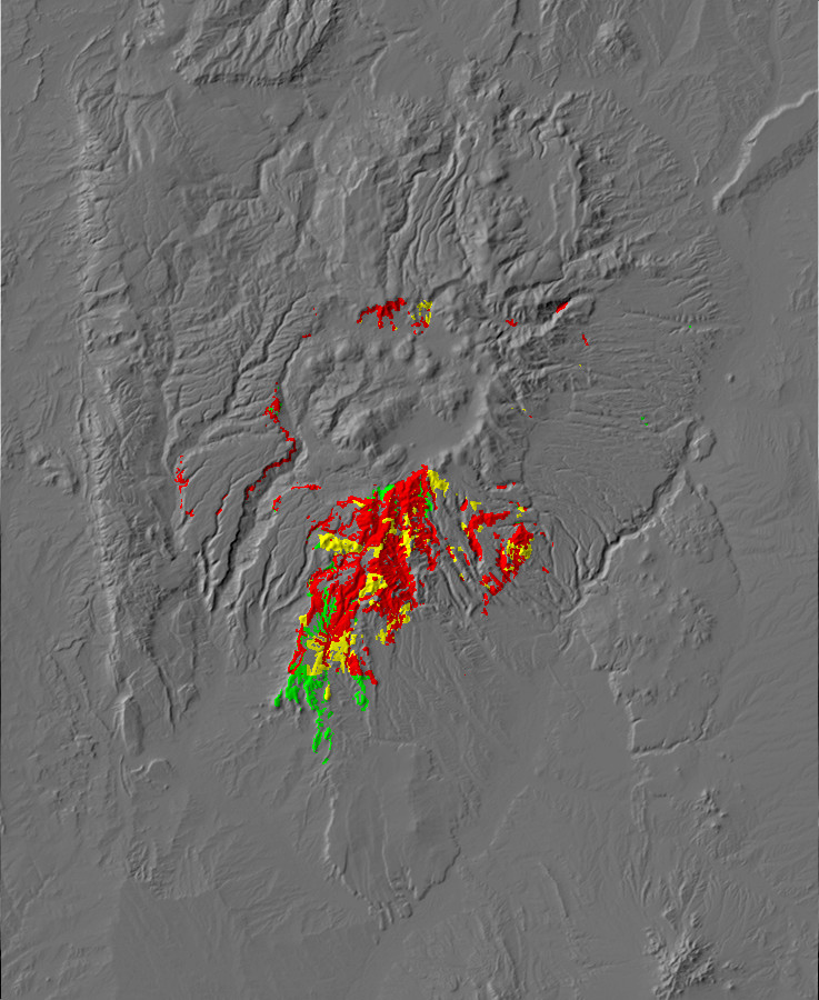 Digital relief map of Paliza Canyon Formation exposures in       the Jemez Mountains