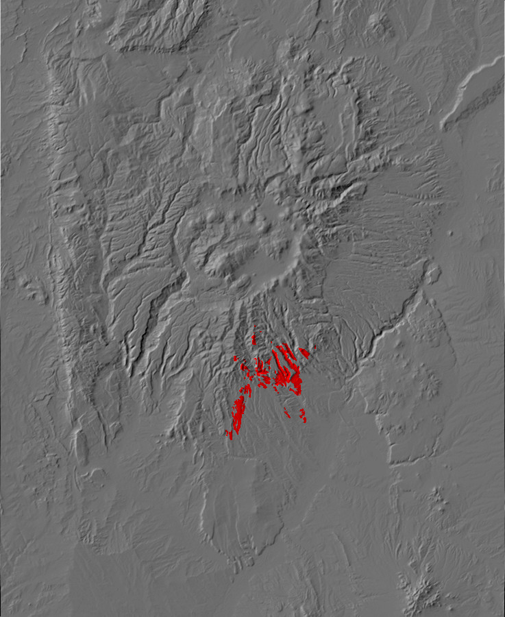 Digital relief map of Peralta Tuff exposures in the Jemez       Mountains