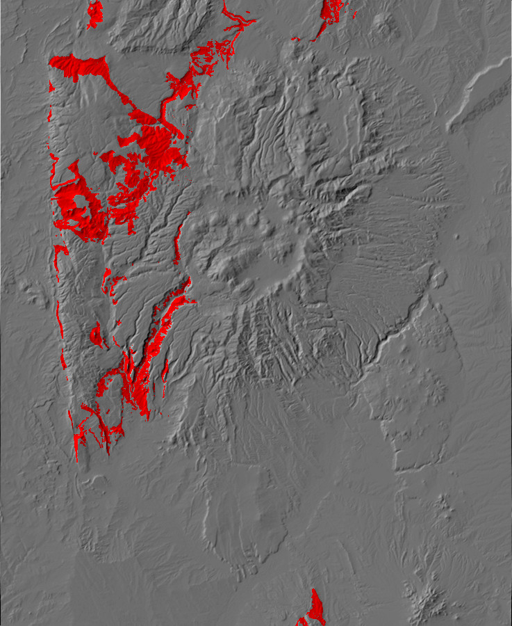 Digital relief map showing Permian         exposures in the Jemez Mountains
