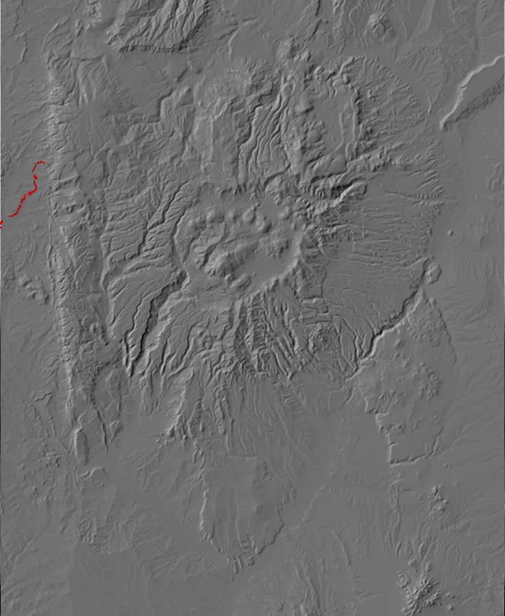 Digital relief map of PIcured Cliffs Formation         exposures in the Jemez Mountains