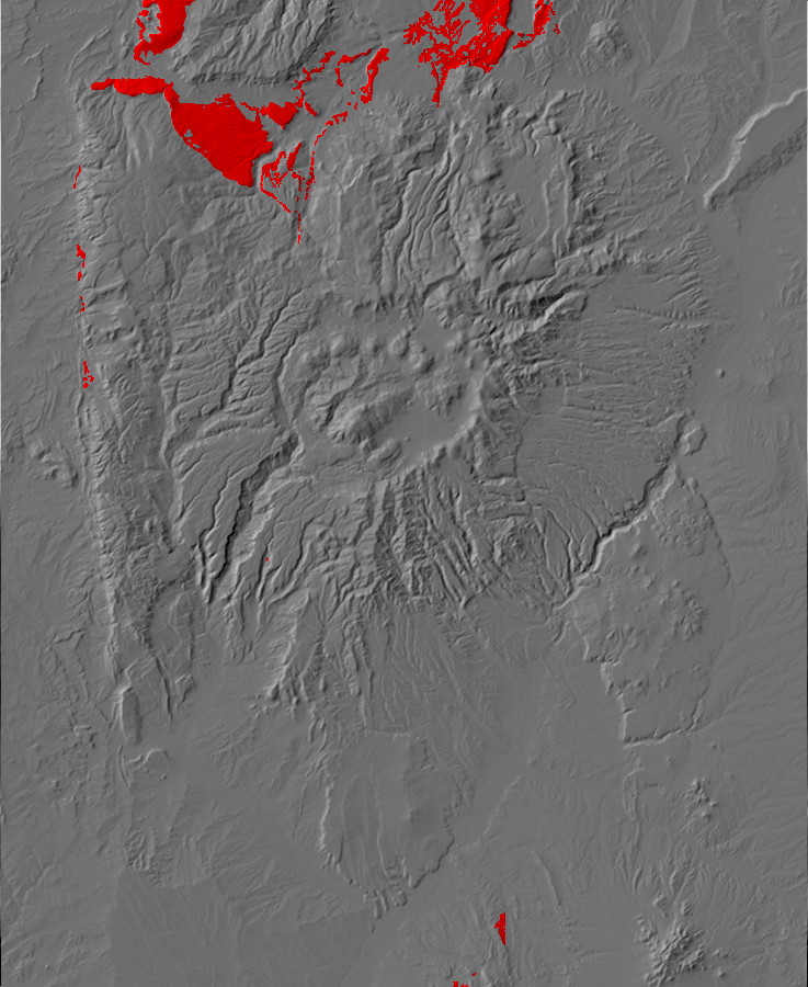 Digital relief map of Poleo Formation exposures in the         Jemez Mountains
