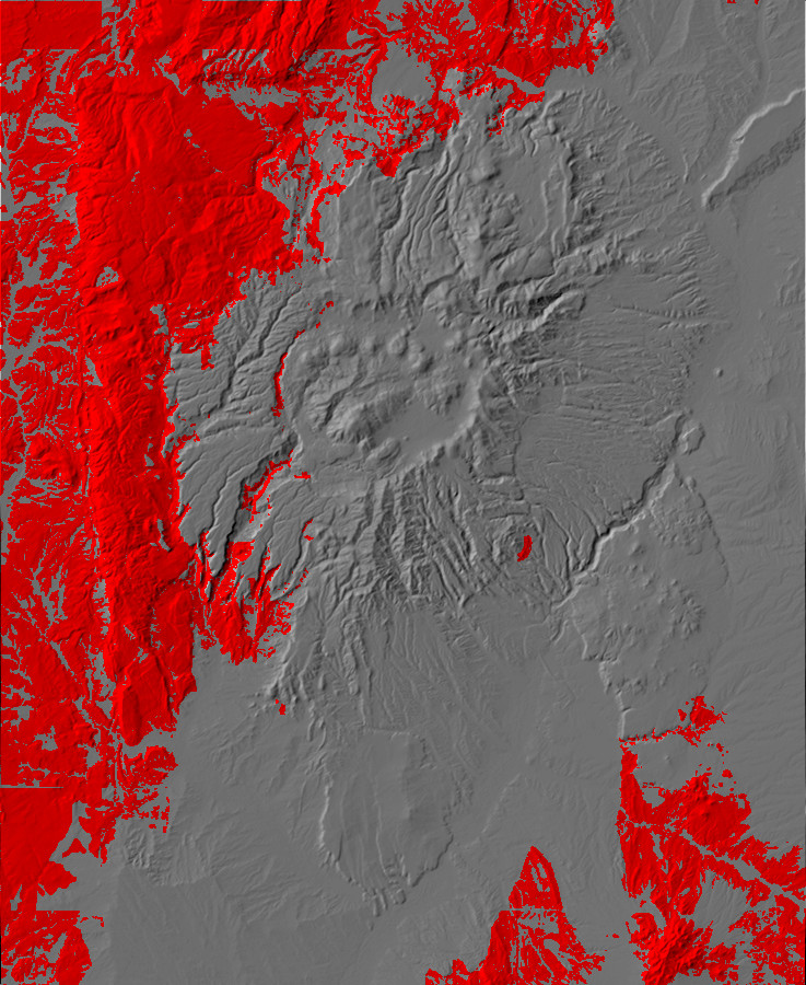 Digital relief map of pre-Neogene exposures in the         Jemez Mountains