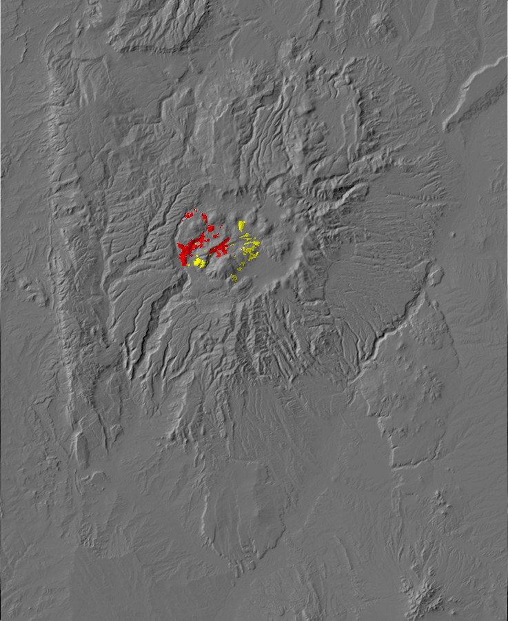 Digital relief map of Redondo Creek and Deer Canyon       exposures in the Jemez Mountains