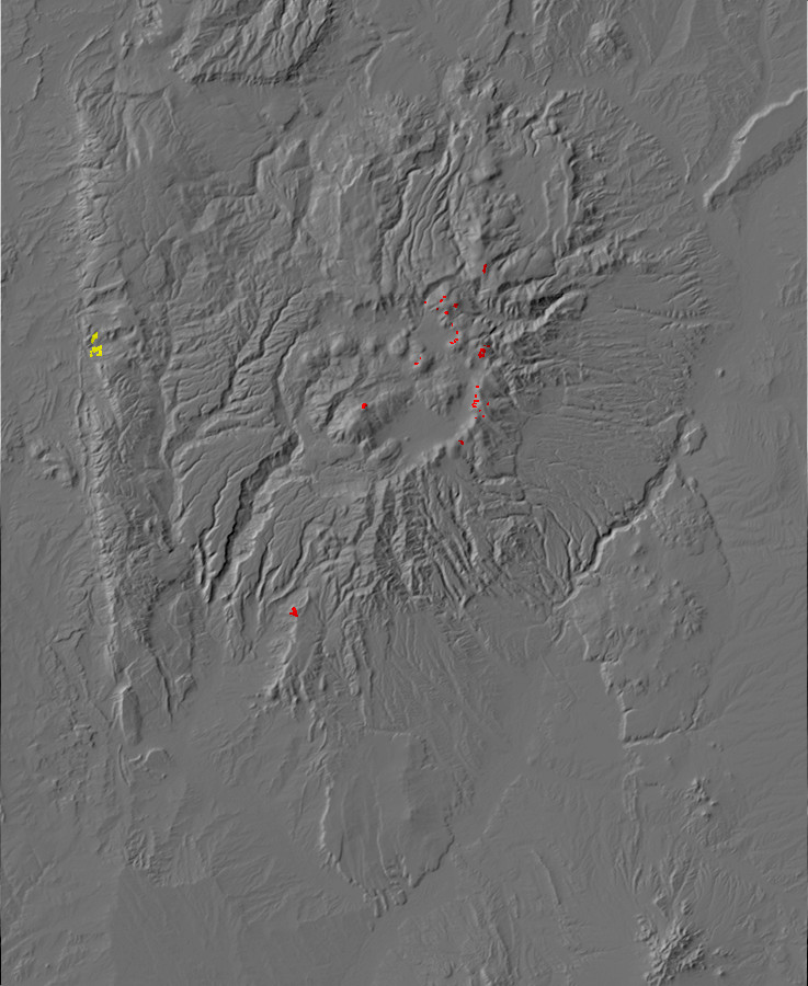 Digital relief map of suspected rock glaciers in the         Jemez Mountains