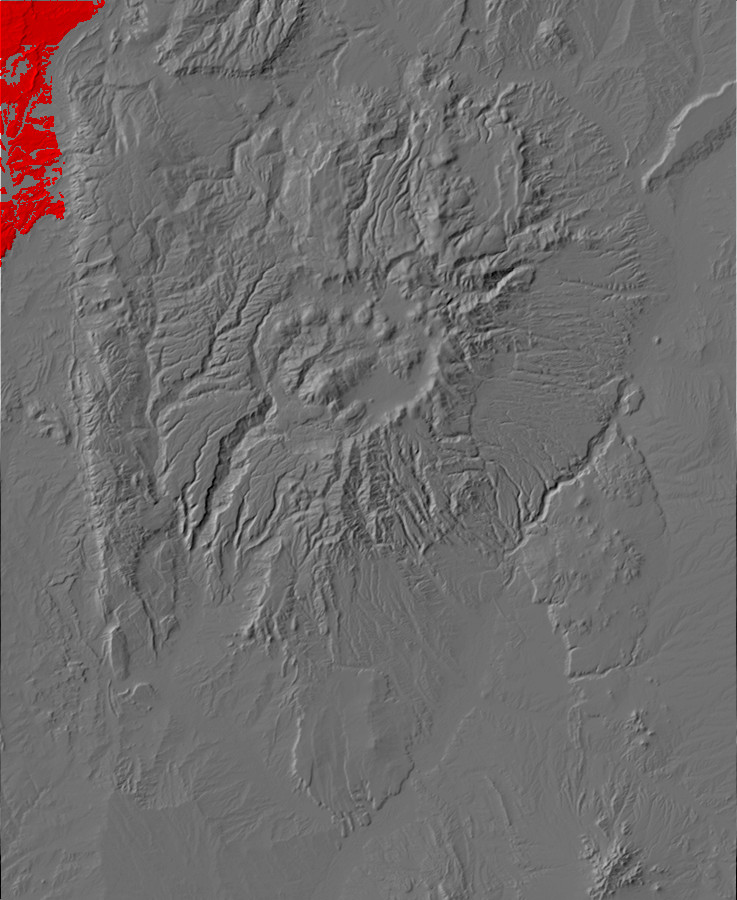 Digital relief map of San Jose Formation exposures in         the Jemez Mountains
