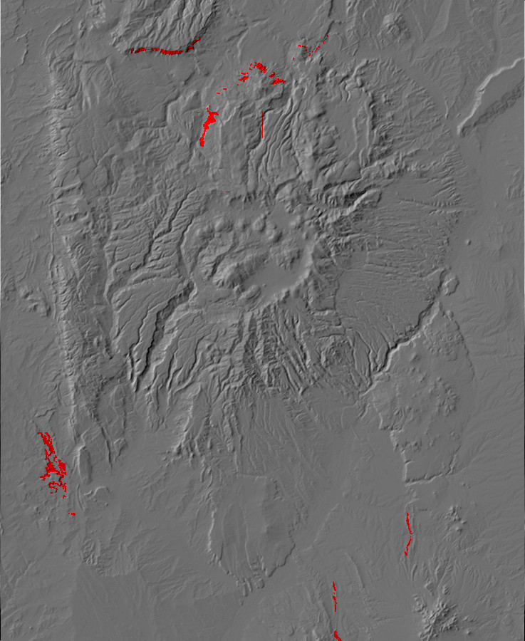 Digital relief map of Summerville Formation exposures         in the Jemez Mountains