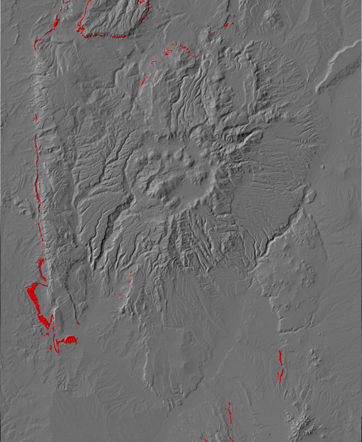 Digital relief map of Todilto exposures in the Jemez         Mountains
