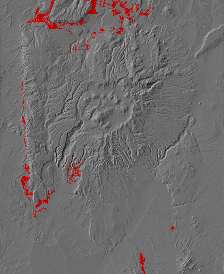 Digital relief map of upper Chinle Group exposures in         the Jemez Mountains