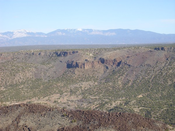 Eroded cinder cone in wall of White Rock Canyon