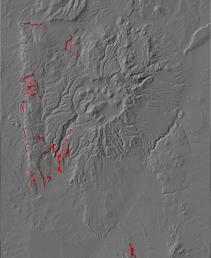 Digital relief map showing Yeso Group         exposures in the Jemez Mountains