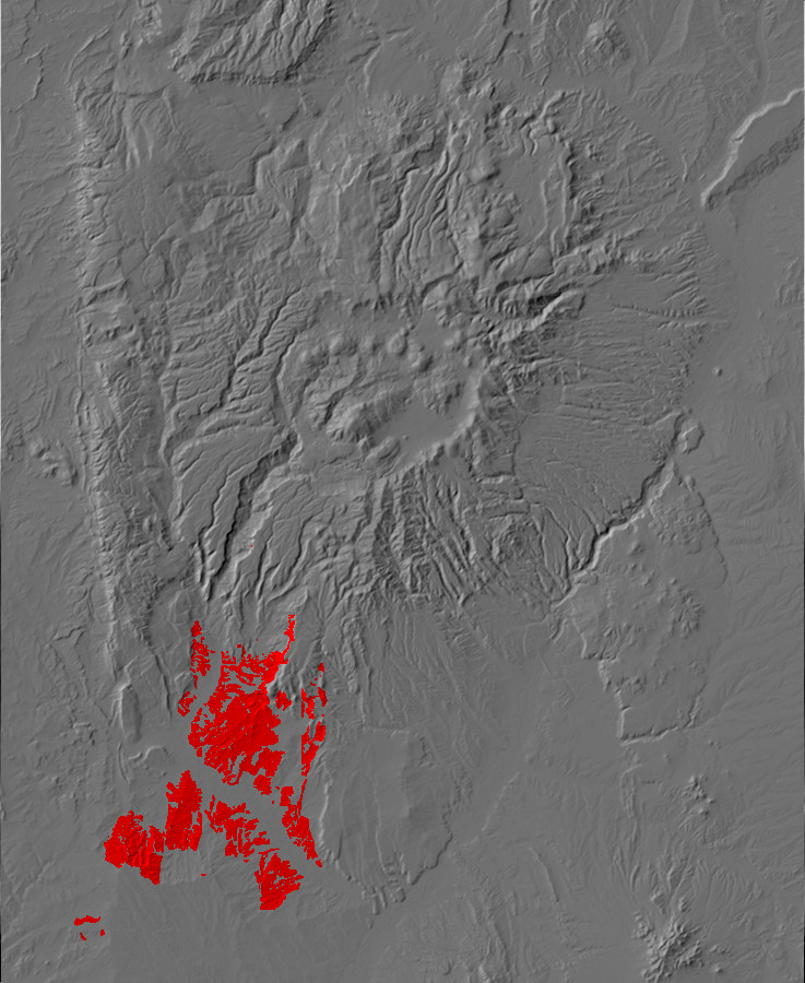 Digital relief map of Zia Formation exposures in the         Jemez Mountains
